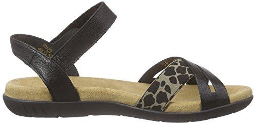 Rieker 60953 Women Open Toe - Sandalias Mujer Negro - Schwarz (beige-schwarz/schwarz / 90)