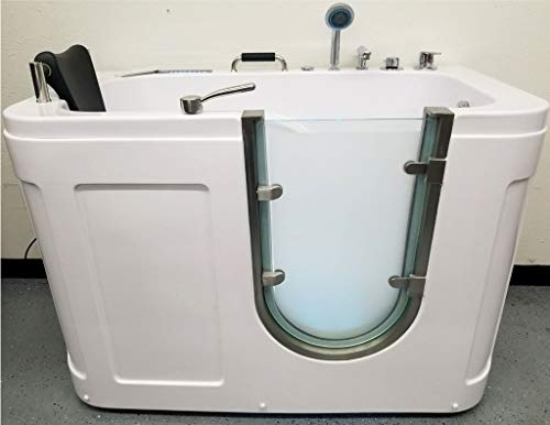 """SDI Factory Direct 54"""" Deluxe Hydrotherapy Water/Air Whirlpool Massage Walk in Bathtub Tub w/Shower Wand, MP3 AUX - Model: SYM5626A"""