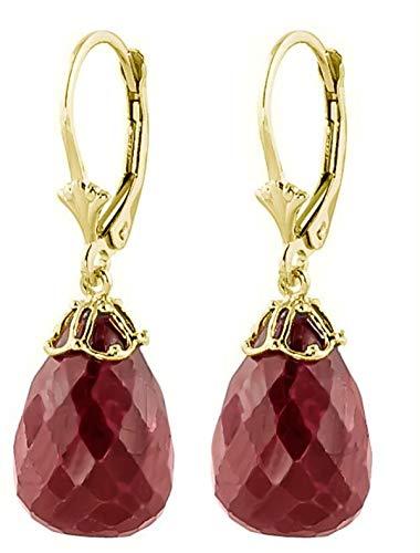 Briolette Ruby Earrings - 14K Yellow Gold Natural Briolette Ruby Drop Dangle Earrings