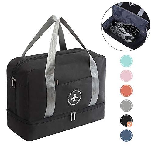 5b2c88547 HOKEMP Waterproof Gym Bag with Shoe Compartment Swim Bag Travel Weekender  Dry Wet Depart Mesh Tote Bag for Men Women (Black)