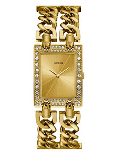 GUESS  Gold-Tone Crystal Multi-Chain Bracelet Watch with Self-Adjustable Links. Color: Gold-Tone (Model: U1121L2)