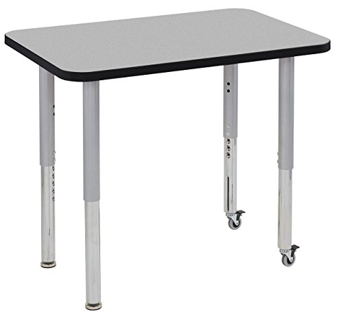 ECR4Kids Thermo-fused 24'' x 36'' Mobile Rectangular  School Activity Table, Super Legs w/ Glides and Casters, Adjustable Height 19-30 inch (Grey/Black/Silver) by ECR4Kids