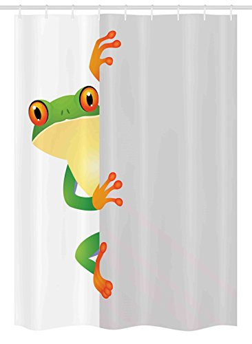 "Ambesonne Reptile Stall Shower Curtain, Funky Frog Prince with Big Eyes on Wall Camouflage Nursery Reptiles Theme, Fabric Bathroom Decor Set with Hooks, 54"" X 78"", Green Yellow Orange"