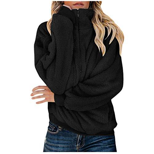 iHHAPY Womens Winter Coat Short Plush Jacket Parka Solid Zipper Jacket Lapel Jacket Faux Wool Jacket Oversize Warm Coat (Polizei-designer)