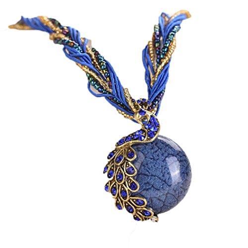 Women's Pendant Necklace Laimeng Bohemian Womens Rhinestone Peacock