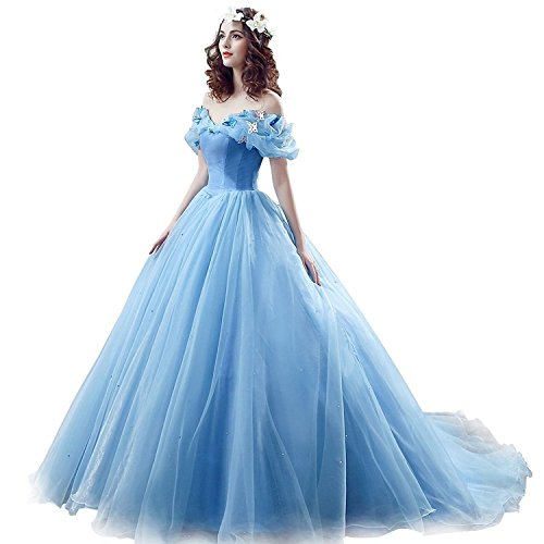 Chupeng Women's Princess Costume Butterfly Off Shoulder Cinderella Prom Dress Long Tulle Quinceanera Ball Gown BU -