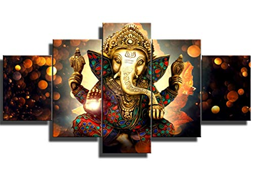 DJSYLIFE Elephant Wall Art -Ganesha Pictures of Hindu Gods on The Wall of Oil Painting Art Works - Elephant Paintings of Home Decor Posters for Zen - Office Zen and Massage Room Decor Ready to Hang ()