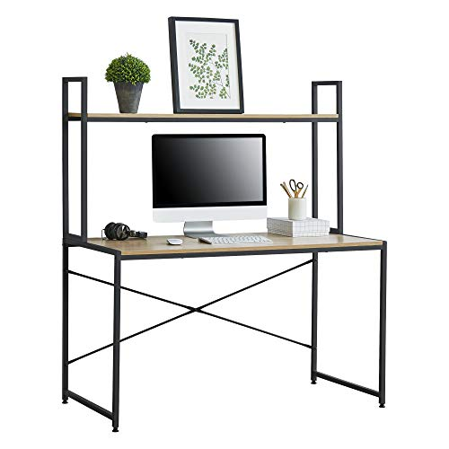 [en.casa] Escritorio con Estante 140 x 120 x 60 cm Escritorio de Oficina con Estructura de Metal Mesa de Trabajo Negro y Color Roble