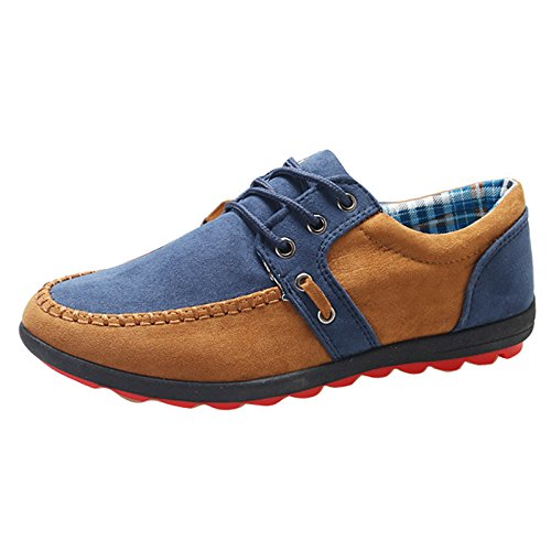 Gaorui Men's Sneakers Loafers Boat Shoes Lace Shoes Suede Blue Yellow. 41.42 Blue
