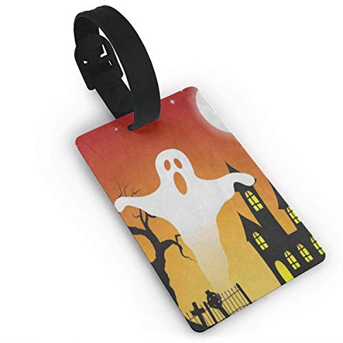 OJferverywell Luggage Tags Halloween Ghost Tree Moon Special Suitcase Name Tag Holder Labels Luggage Tag ()