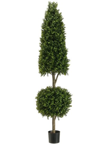 6' Cone/Ball-Shaped Boxwood Topiary in Plastic Pot Two Tone Green by Silk Decor