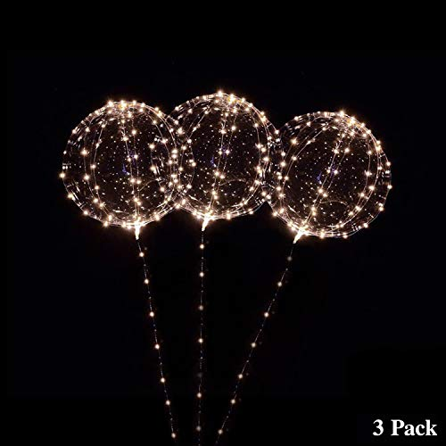 18 Inch 3 PCS Led Light Up BoBo Balloon, Warm White/ Red/ Pink colors, Fillable Transparent Balloons with Helium, Great for House Decorations, Wedding and Party Decoration- Lasts 72 hours (Warm white) -