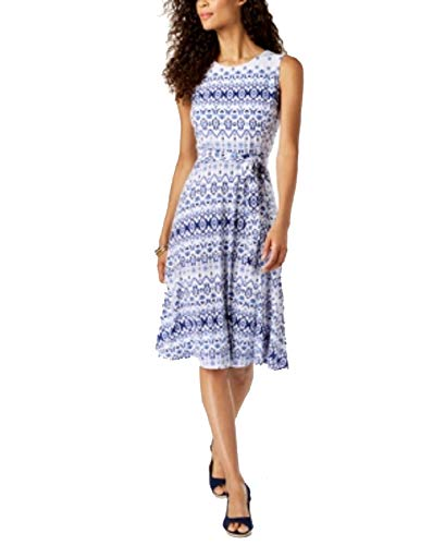 Charter Club Printed Fit & Flare Dress (Modern Blue Iconic Combo, L)