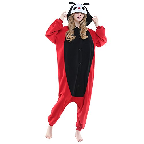 [NEWCOSPLAY Halloween Unisex Adult Cute Animals Pajamas Costume Listing 1 (XL, Red Ladybug)] (Ladybug Halloween Costume Adults)
