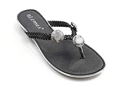 LEMEX Black Thong Slipper For Girls
