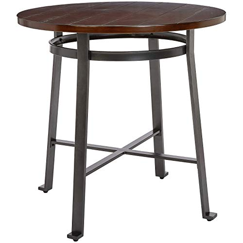 Ball & Cast Fremont Metal-and-Wood Counter-Height Bar Table, Cherry Charcoal