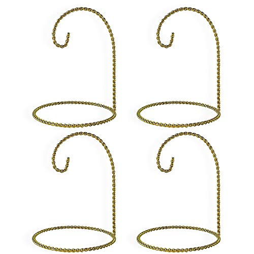 - BANBERRY DESIGNS Christmas Ornament Stand - Set of 4 Gold Ornament Holders - 5