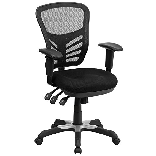 Mid Back Multifunction Fabric - Flash Furniture Mid-Back Black Mesh Chair with Triple Paddle Control [HL-0001-GG]