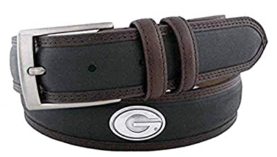NCAA Georgia Bulldogs Black/Brown Two Tone Stitch Leather Concho Belt