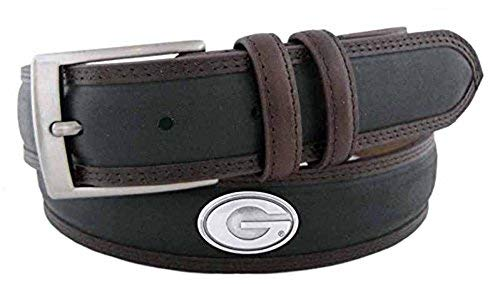 (ZeppelinProducts UGA-BBLPS-BLK-46 Georgia Concho Two Tone Leather Belt, 46 Waist)