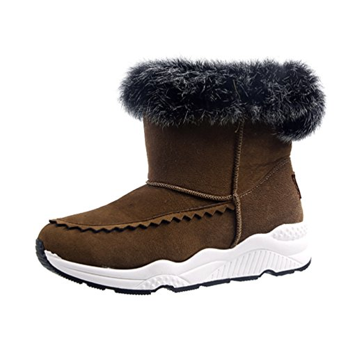 Jitong Women's Thick Sole Ankle Boot Faux Fur Lined Suede Boots Slip On Warm Short Booties Brown FieUk3