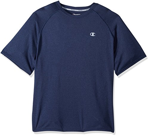 Champion Men's Vapor Vented Tee with FreshIQ, Navy Heather/Concrete, L
