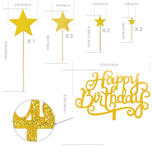 Set of 12 Gold Happy Birthday Cake Toppers Pack Acrylic Glitter Star Fans Confetti Balloon Cupcake Party Decor Decorations (I)