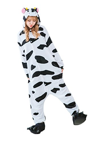 Dingwangyang Uinisex Adult Pajamas Onesie Kigurumi Cosplay Costumes Animal Jumpsuit Cow-XL (Womens Cow Costume)