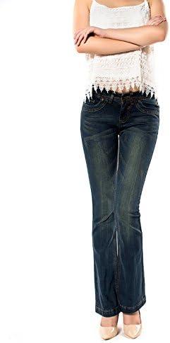 レディース デニム ジーンズ コットン 大きいサイズ 修身 スリム タイトパンツ ラッパズボン 203-02