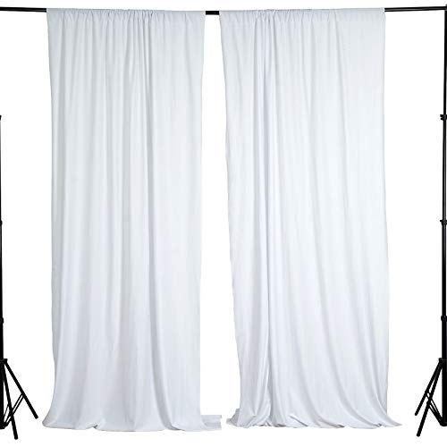 BalsaCircle 10 ft x 10 ft White Polyester Photography Backdrop Drapes Curtains Panels - Wedding Decorations Home Party Reception Supplies (Wedding Backdrop Drapes)