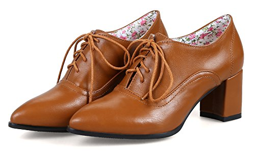 Aisun Womens Fashion Lace Up Wear To Work Office Scarpe A Punta Pompe Dressy Chunky Mid Heel Oxford Scarpe Tan