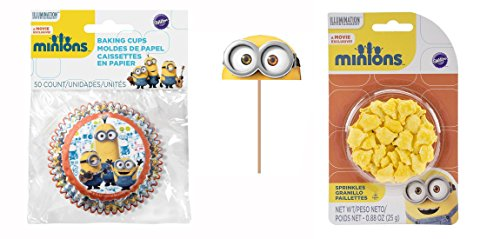 Wilton - Despicable Me Minions Collection, Birthday Party Cupcake Decoration Combo Pack. Includes Cake Pick Toppers, Sprinkles, and Cupcake Baking Cups