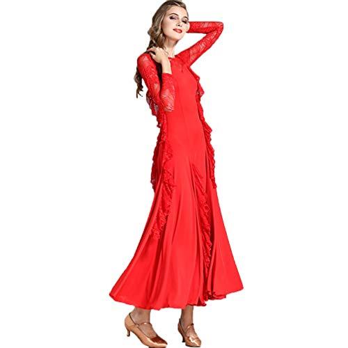 Manica Wqwlf Sala m M Cuciture Lunga Prestazioni concorso Modern Practice Valzer Pizzo Per Da Balli Dancewear Donna Gonna In Red rwEqrPH