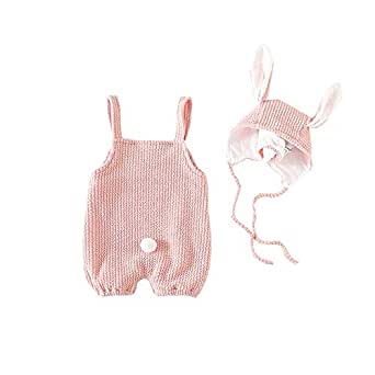 Fairy Baby 2PC Toddlers Baby Girls Easter Outfit Clothes Set Knit Bib Romper+Bunny Ears Cap Size 3-6M (Pink)