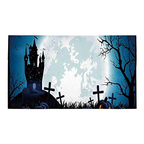 C COABALLA Halloween Decorations Rectangular Bath Rug,Spooky Concept with Scary Icons Old Celtic Harvest Figures in Dark Image for Bathroom,32