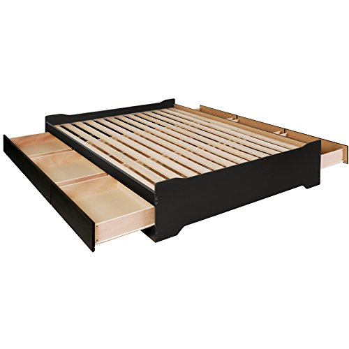 prepac coal harbor mate's platform storage bed with 6 drawers, queen, black
