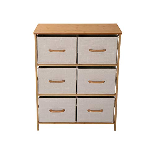 HOMEFORT 3-Tier Dresser with 6 Drawers, Drawer Chest Storage Tower, Storage Shelf Unit with Easy Pull Linen Fabric Bins, Bamboo Frame and Wood Tabletop, Perfect for Nursery, Closet, Living Room, Hallw