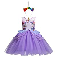 Baby Girls Toddler Unicorn Dress Sleeveless Princess Tulle Dress Wedding Birthday Party Gown Performance Costume Purple 5-6