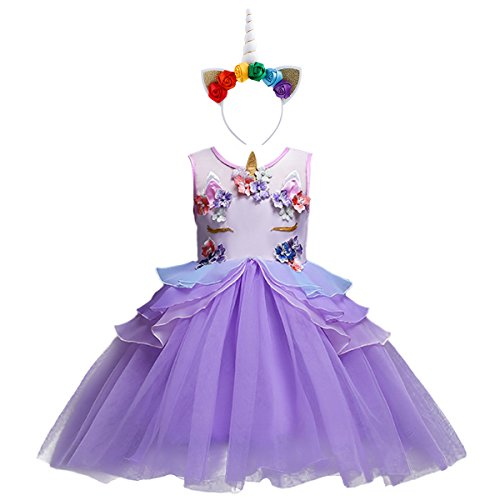 Little Girls Kids Flower Unicorn Birthday Halloween Cosplay Fancy Costume Tutu Dress up Lace Tulle Pageant Party Princess Dance Evening Gown Outfits Clothes Purple & Headband 9-10