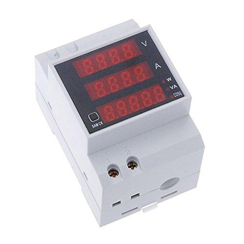 Meter - TOOGOO (R) Multi - functional digital current DIN rail Supply voltage Display Voltmeter Ammeter Meter white