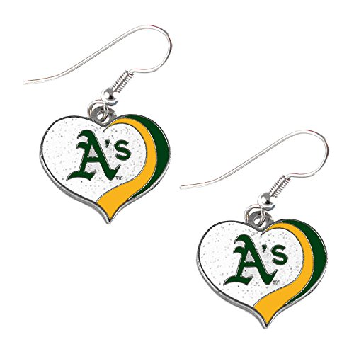 aminco Oakland Athletics MLB Sports Team Logo Glitter Heart Earring Swirl Charm ()