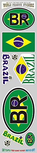 Car Chrome Decals STS-BR Brazil 9 Stickers Set Brazilian Flag Decal Bumper stiker car auto Bike Laptop ()