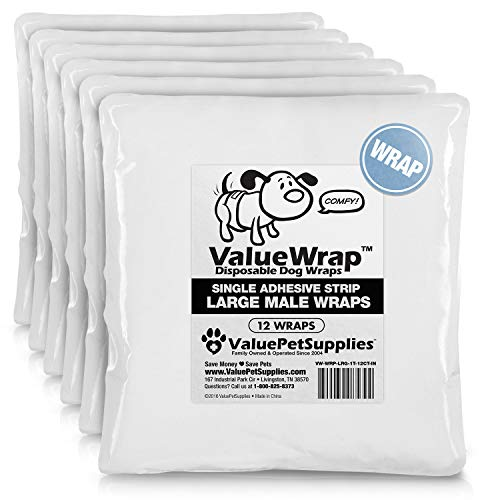 ValueWrap Male Dog Diapers, Belly Wraps, 1-Tab, Large, 72 Count