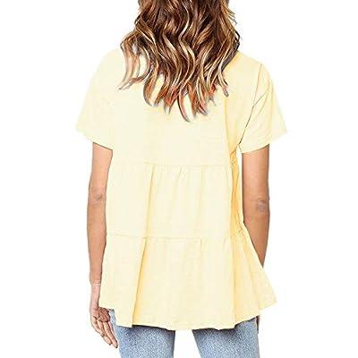 Sanifer Women's Peplum Tops Summer Short Sleeve Ruffle Loose Shirt Blouse at Women's Clothing store