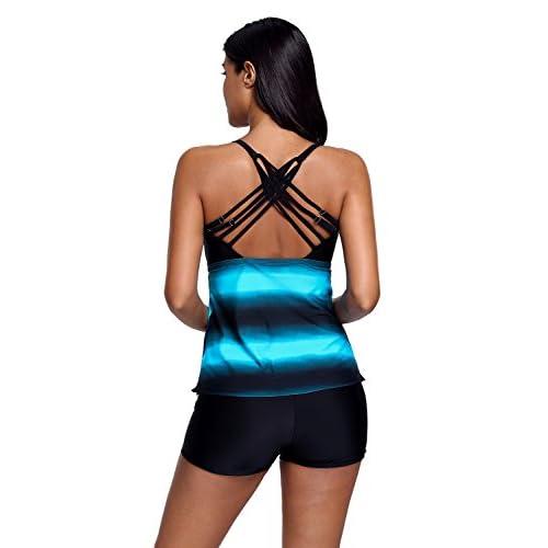 f072e1885952b REKITA Women s Plus Size Swimsuits Color Block Tankini Top with Boyshort  Swimwear