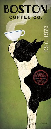 Boston Terrier Coffee Co Panel Ryan Fowler Vintage Ads Dogs Pets Print Poster 8x20 ()