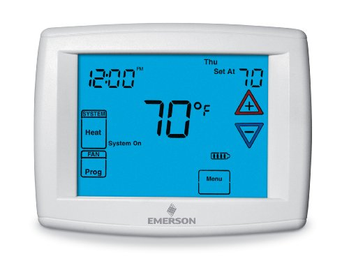 White-Rodgers 1F95-1277 Big Touchscreen Programmable Thermostat, Blue, 12