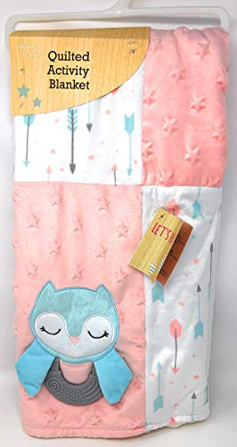 quilted activity blanket teal owl