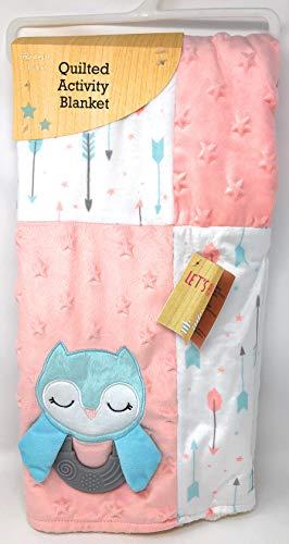 Quilted Activity Baby Blanket (Teething Ring/Mirror/Crinkles) ~ Teal Owl ()