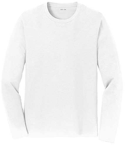 - Joe's USA(tm) Mens Long Sleeve 4.5oz Lightweight Soft Cotton T-Shirt-White/b-6XL